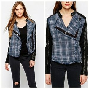 Free people plaid flannel and vegan leather jacket